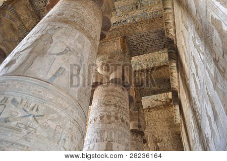 Columns inside the main hall at ancient egyptian temple of dendera poster
