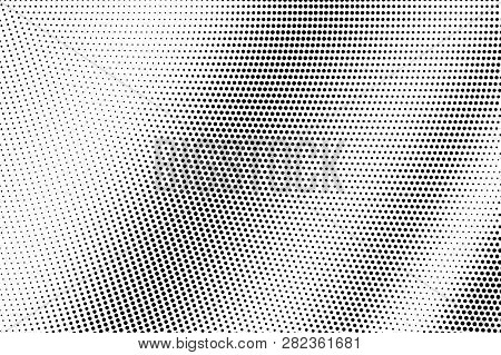 Black Dots On White Background. Smooth Perforated Surface. Contrast Halftone Vector Texture. Diagona