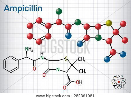 Ampicillin Drug Molecule. It Is Beta-lactam Antibiotic. Sheet Of Paper In A Cage. Structural Chemica