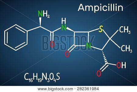 Ampicillin Drug Molecule. It Is Beta-lactam Antibiotic. Structural Chemical Formula On The Dark Blue