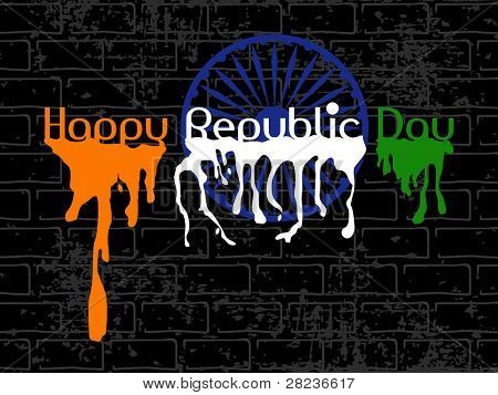 Republic Day Text with flew paint and Asoka Wheel on black wall grungy background for Republic and Independence Day.