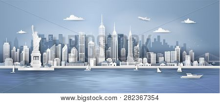 Manhattan,new York City Panorama Skyline With Urban Skyscrapers, Paper Art 3d From Digital Craft Sty