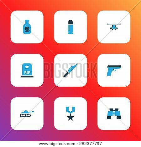 Warfare Icons Colored Set With Panzer, Firearm, Cutter And Other Binoculars Elements. Isolated Vecto
