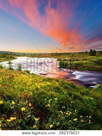 Amazing view of river in morning light. Location place Geyser Park, Hvita river, Haukadalur valley area, Iceland, Europe. Scenic image of beautiful nature landscape. Discover the beauty of earth.