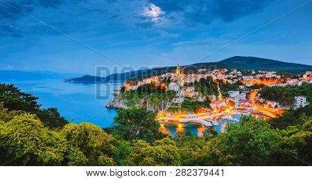 Peaceful seascape in the city of Vrbnik in evening. Location Krk island, Primorsko-Goranska Zupanija, Kvarner bay, Croatia, Europe. Scenic image of summer holiday season. Discover the beauty of earth.