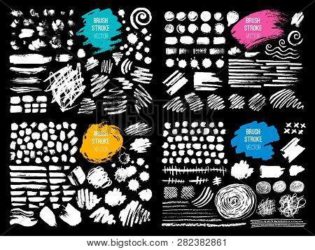Set Stroke Spot Blod. Brush, Pen, Marker, Chalk. Black White. Vector Distressed Grunge Modern Textur