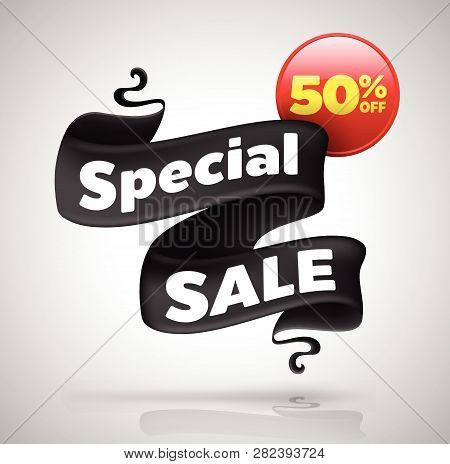 Special Sale Banner Fifty Percent Off. Vector Illustration For Promotion Advertising.