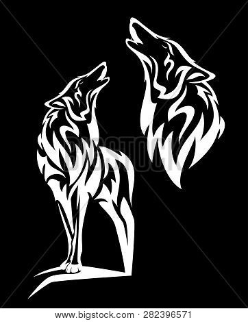 Alaskan Tundra Wolf Howling - Standing White Animal And Profile Head Vector Design On Black