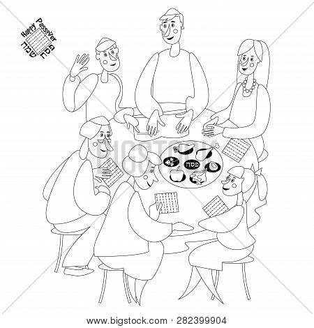 Jewish Family Celebrates Passover. Reading Of The Passover Haggadah. Black And White. Coloring Page.