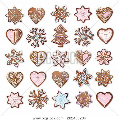 Home Made Christmas Gingerbread Cookies Icing Decoration Collection Isolated On White