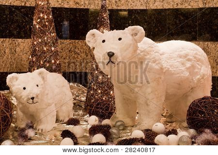 decoration for the winter holidays with two bears polar poster