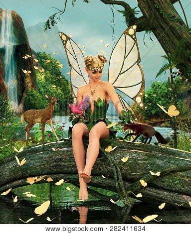 3d Fantasy Little Pixie In Mythical Forest,3d Illustration For Book Cover Or Book Illustration