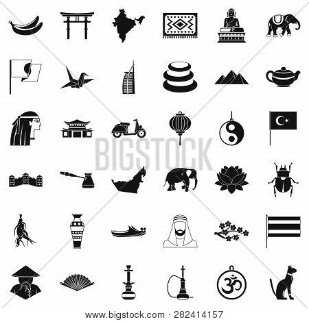 Asian Trip Icons Set. Simple Style Of 36 Asian Trip Icons For Web Isolated On White Background