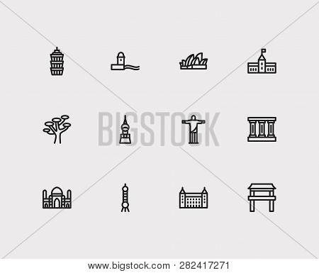Travel Icons Set: Brasil, Greek, Africa And Skyscraper, Monument, Germany Set Popular Traveling Citi