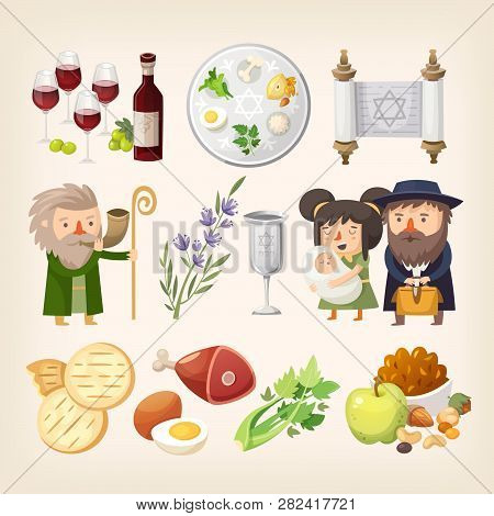 Set Of Images Related To Passover Or Pesach Holiday. Traditional Food, People And Elements For Creat