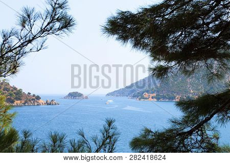 View Of A Small Island Among The Trees In Turkey