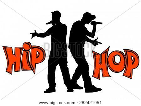 Hip-hop artists with microphones on stage
