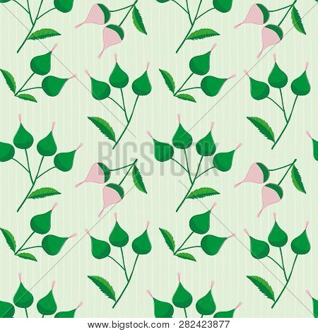 Elegant Pink And Green Hand Drawn Buds On A Subtly Striped Light Green Background. Sophisticated Vin