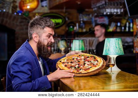 Man Received Delicious Pizza. Cheat Meal Concept. Pizza Favorite Restaurant Food. Fresh Hot Pizza Fo