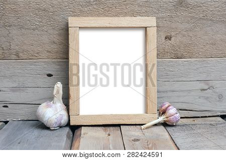 8x10 Rough Frame On A Wooden Table, Rustic Style, Wooden Background, Vertical Frame Mockup
