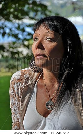 Older Native American Green Eyed Woman Portrait