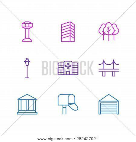 Vector Illustration Of 9 City Icons Line Style. Editable Set Of Streetlight, Building, Bridge And Ot