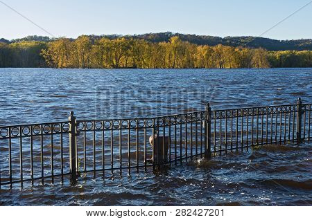 Mississippi River And Wooded Banks From St Feriole Island During Autumn Flood In Prairie Du Chien Wi