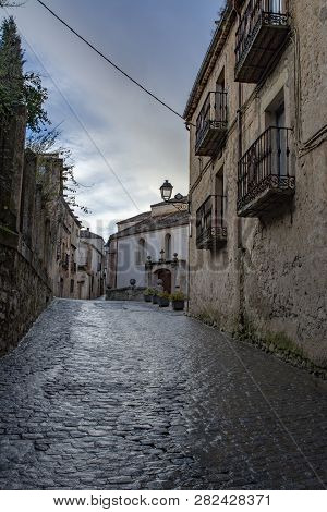 Sepulveda, Segovia, Spain; March 2018:  View Of One Street In The Old Town In The Village Of Sepulve