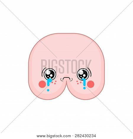 Sad Kawaii Ass Cute Cartoon. Funny Butt Crying