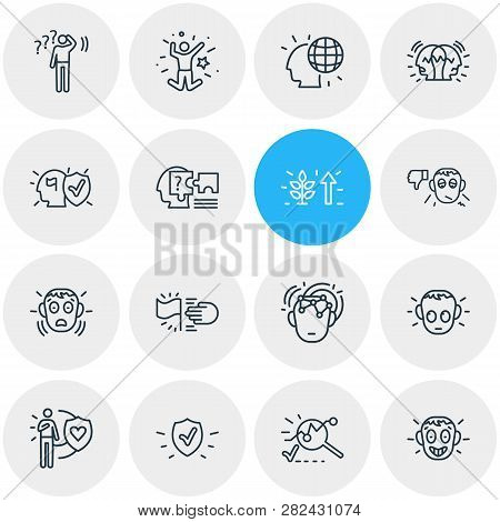 Vector Illustration Of 16 Emoticon Icons Line Style. Editable Set Of Analysis, Undecided, Honesty An