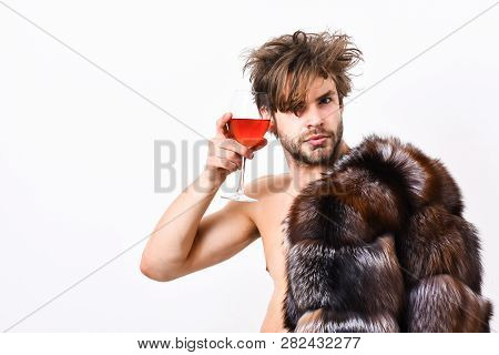 Rich Athlete Enjoy His Life. Sexy Sleepy Rich Macho Tousled Hair Drink Wine Isolated On White. Healt