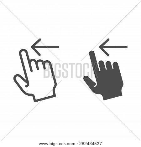 Swipe Left Line And Glyph Icon. Flick Left Vector Illustration Isolated On White. Gesture Outline St