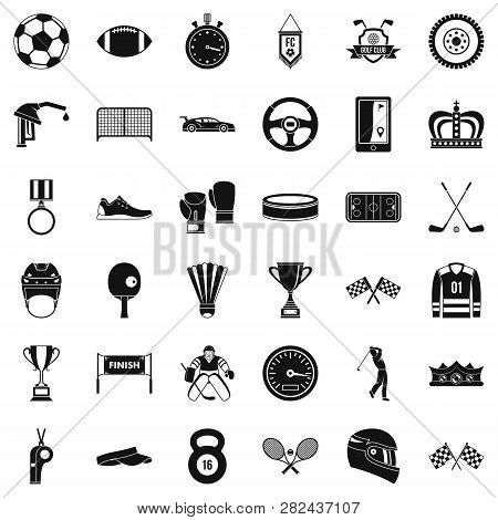 Champion icons set. Simple style of 36 champion icons for web isolated on white background poster