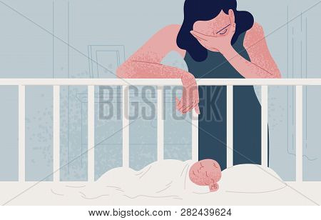 Sad Tired Woman Leaning Over Newborn Baby Sleeping In Crib And Covering Face With Hand. Concept Of P