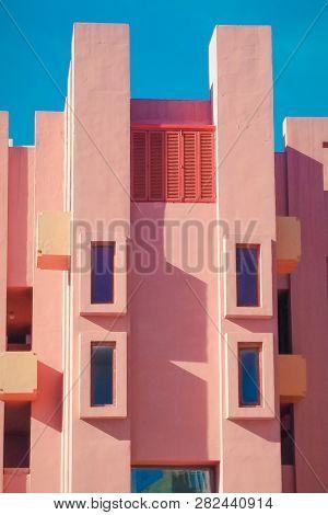 Walls Of La Muralla Roja Building Located In Calp, Spain