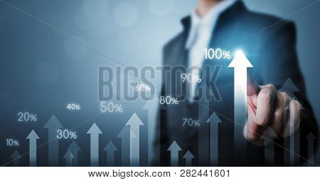 Business Development To Success And Growing Growth Concept. Businessman Pointing Arrow Graph Corpora
