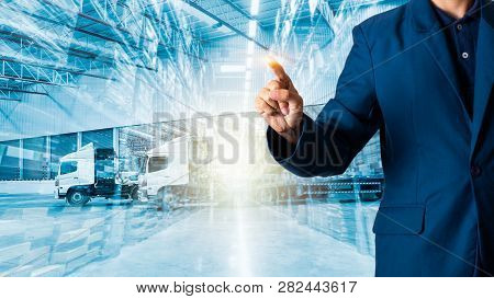 Businessman Manager Or Ceo His Fingers Of Logistics For Workers With Modern Trade Warehouse Logistic