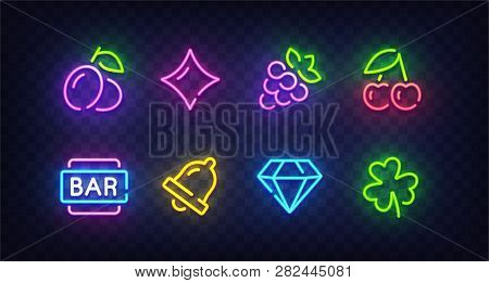 Isolated Game Icons For Casino. Icon From Slot Machine. Slot Neon Sign. Casino, Slot Machine, Gambli