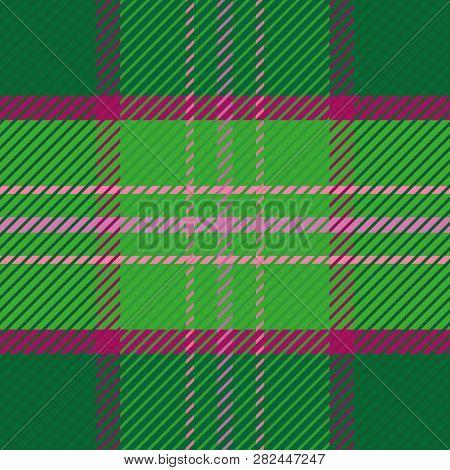 Dark Green Tartan Plaid Pattern With Subtle Deep Pink Stripes. Elegant Seamless Vector Design. Perfe