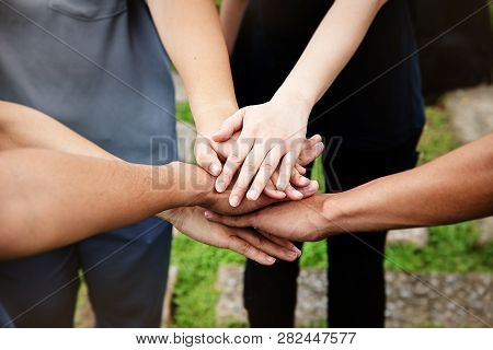 The Human Hands Touching Together,teamwork Concept,collaborator,union,joining Team