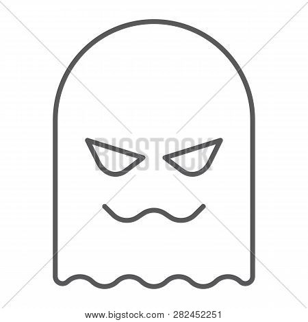 Ghost Thin Line Icon, Horror And Character, Horror Sign, Vector Graphics, A Linear Pattern On A Whit