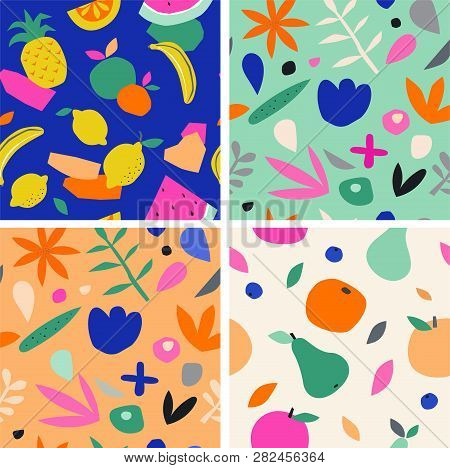 Colorful Seamless Pattern In Paper Cutout Style. Modern Graphic Design, Hand Drawn Textures. Ideal F