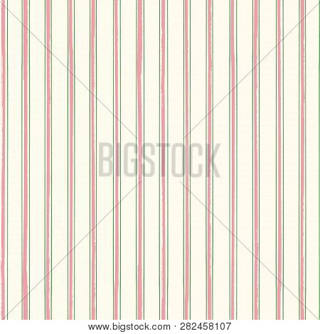 Classic Stripes In Pastel Pink And Green With A Contemporary Painterly Twist On Soft Cream Backgroun
