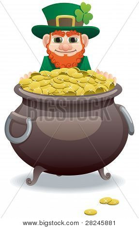 Wily leprechaun, tempting you with his pot of gold. No transparency used. Basic (linear) gradients used. poster