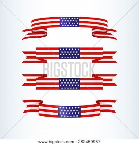 American Flag Ribbon Stars Stripes Patriotic American Theme Usa Flag Of A Wavy Ribbon Shape Icon Des