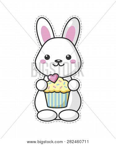 Cute Kawaii Easter Bunny Cartoon Character With Sweet. Beautiful Kawaii Vector Illustration For Gree