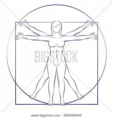 Vitruvian Woman. Sacred Geometry Of Female Body Placed In Circle And Square. Isolated Vector Illustr