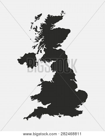 United Kingdom Black Blank Map. Great Britain Map Isolated On White Background. Vector Illustration