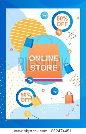 Online Store. 50 Percent Attracting Customers. Application Smartphone For Shopping Internet Space. T