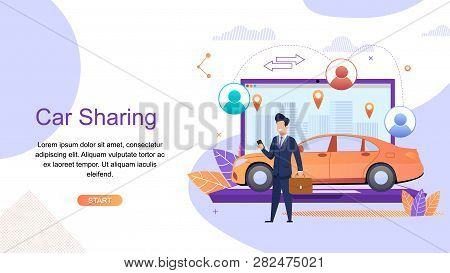 Car Sharing. Man Business Suit Order Urban Taxi. Car Rental From Specialized Companies For Intra Cit